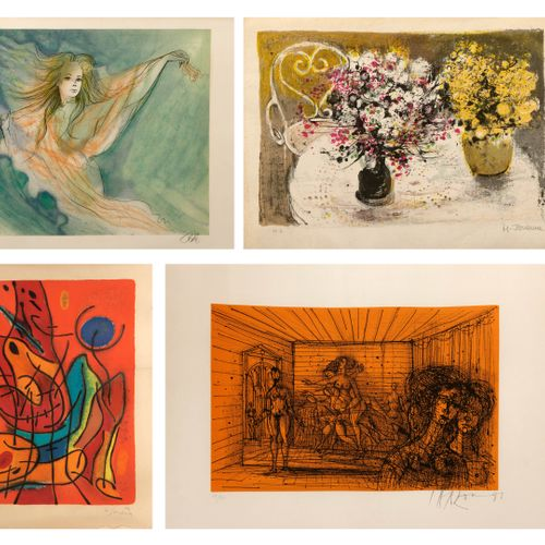 Jean Baptiste VALADIÉ (1933) Untitled.  Lithograph in colors on paper.  Signed l…