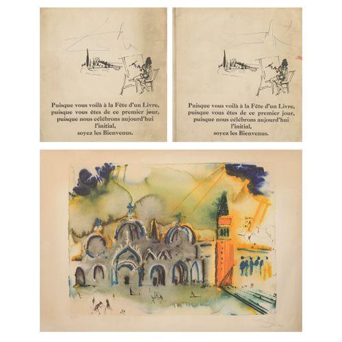 Salvador DALI (1904 1989) Saint Mark's Square.  Lithograph in colours on paper. …
