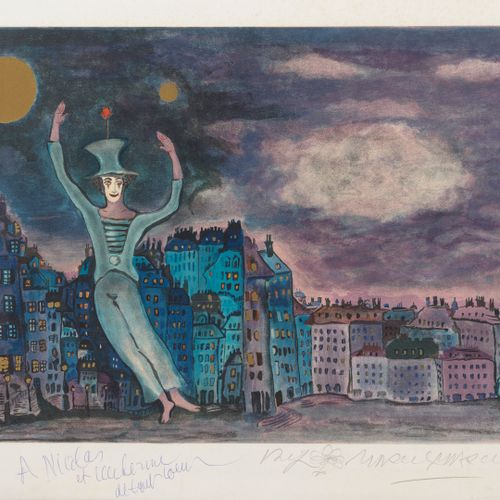 Marcel MARCEAU (1923 2007) The clown.  Lithograph in colors on paper.  Signed an…