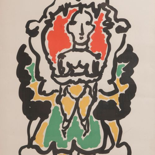 Charles LAPICQUE (1898 1988) The Lare God, 1952  Lithograph in colors on paper. …