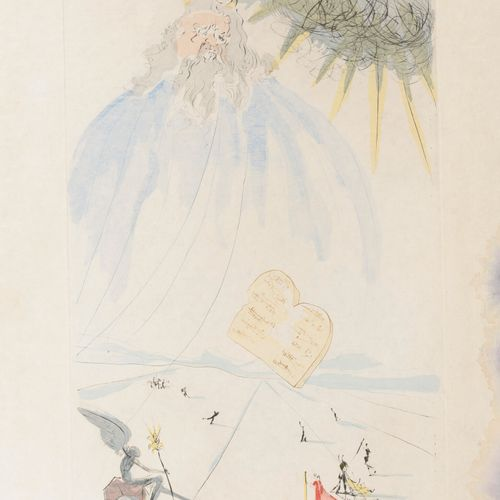 Salvador DALI (1904 1989) Moses and the Tables of the Law.  Drypoint enhanced wi…