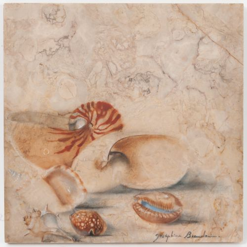 Joséphine BEAUDOUIN (1909 2005) Marmorae, shells.  Oil on marble.  Signed lower …