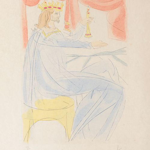 Salvador DALI (1904 1989) Untitled.  Drypoint enhanced with stencil on paper.  S…