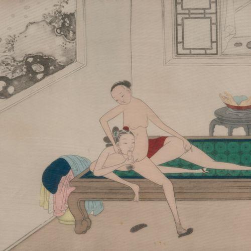 Ecole Chinoise du XXème siècle Scène érotique.  Impression sur tissu.  20 x 24 c…