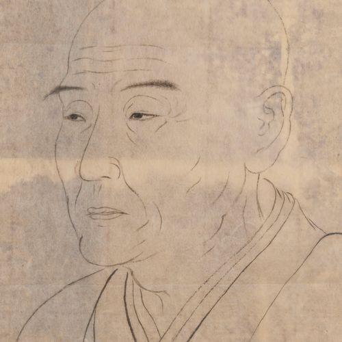 École chinoise, XIXème XXème siècles Portrait d'homme en buste. Dessin sur calqu…