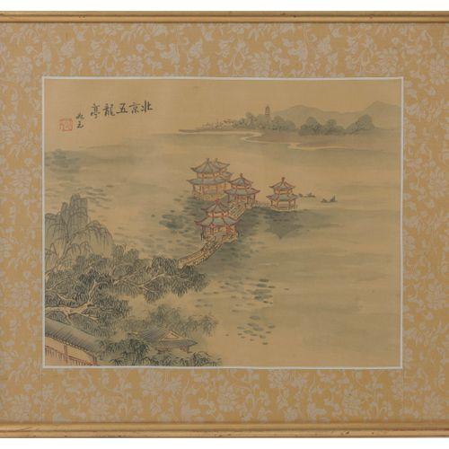 ASIE, XXème siècle Trois pièces encadrées représentant des paysages fluviaux ani…