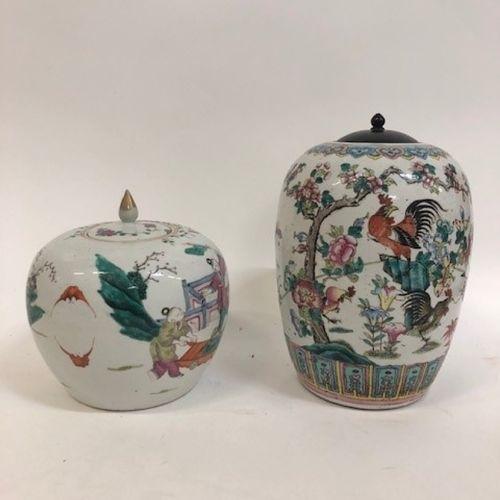 CHINE, début du XXème siècle Pot à gingembre en porcelaine à décor polychrome d'…