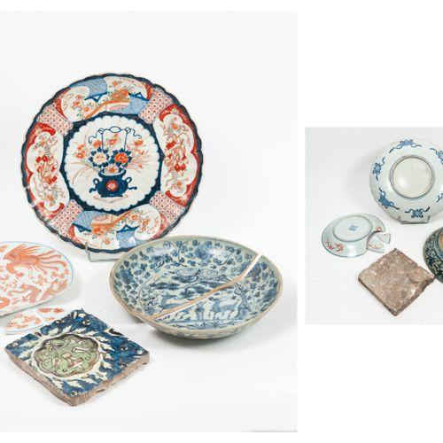 CHINE et JAPON, XIXème XXème siècles plat circulaire creux en porcelaine à décor…