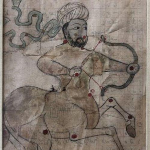 INDE, XIXème siècle Scène de la vie d'Ali.  Miniature sur papier.  17 x 9,5 cm (…