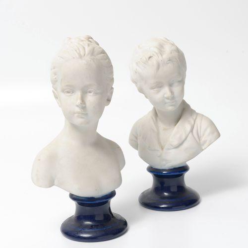 THARAUD à Limoges, d'après Jean Antoine HOUDON (1741 1828) Bustes des enfants Br…