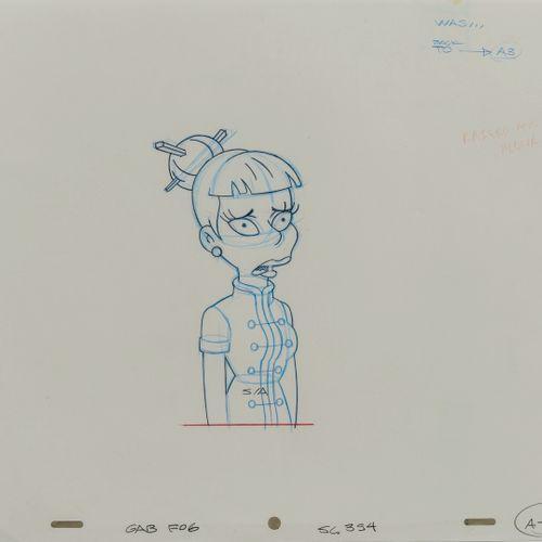 Studio Matt GROENING Madam Wu. Les Simpson.  Mine de plomb et crayons de couleur…