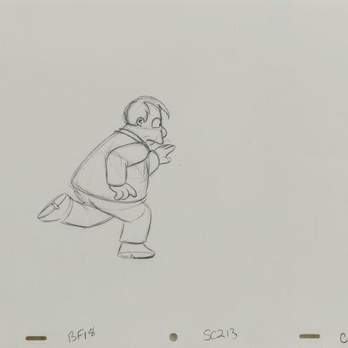 Studio Matt GROENING Joe Quimby. Les Simpson.  Mine de plomb sur papier perforé.…