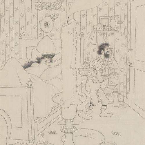 Albert DUBOUT (1905 1976) Les amants.  Mine de plomb, encre et gouache sur papie…