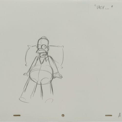 Studio Matt GROENING HEY...  Homer. Les Simpson.  Mine de plomb sur papier perfo…