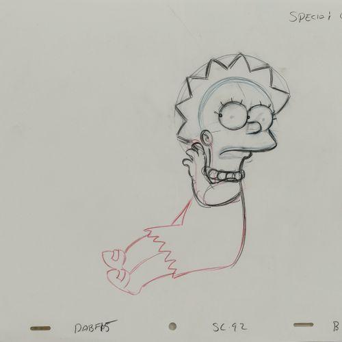 Studio Matt GROENING Lisa. Les Simpson.  Mine de plomb et crayons de couleur sur…