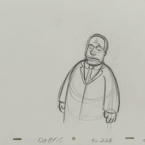 Sutdio Matt GROENING Julius Hibbert. Les Simpson.  Mine de plomb sur papier perf…