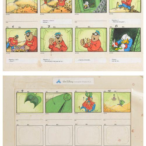 Walt DISNEY Animation France S.A. Les Rapetou et Picsou.  Deux planches de huit …