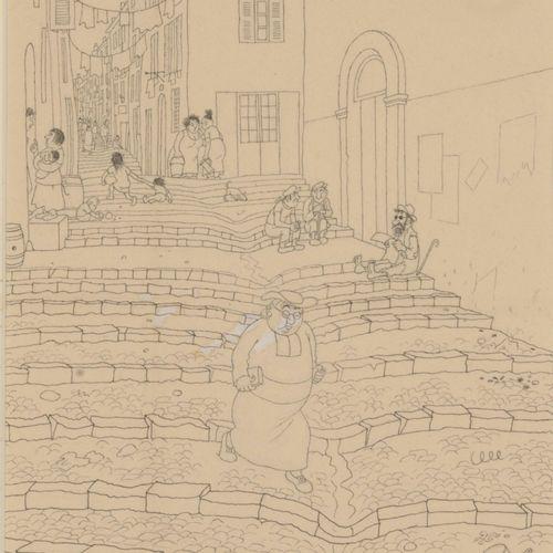 Albert DUBOUT (1905 1976) César, 1948.  Encre et rehauts de gouache sur papier. …