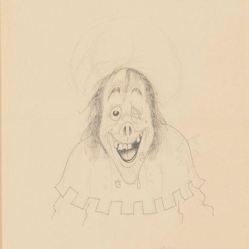 Albert DUBOUT (1905 1976) Le fou.  Mine de plomb et encre sur papier.  Signé en …
