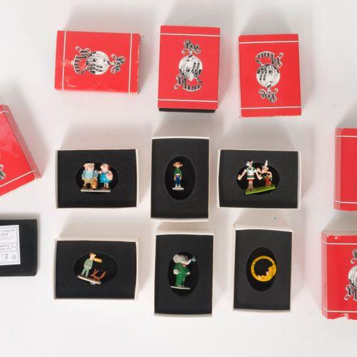"Pixi, Paris Lot de six ""Mini"" figurines comprenant :   Marsupilami, 1995.  Dans …"