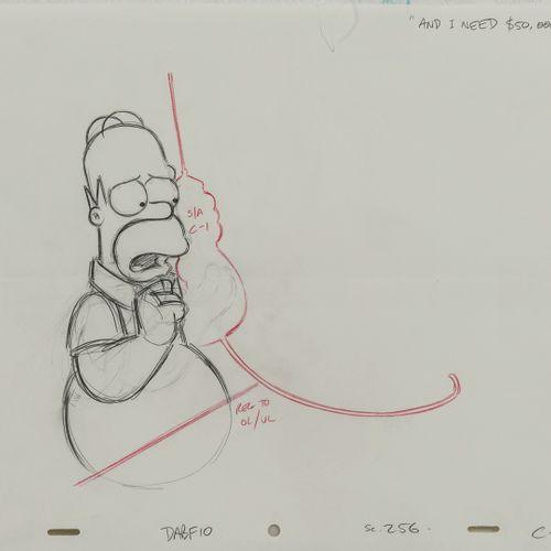 "Studio Matt GROENING ""And I need $50.000"". Homer. Les Simpson.  Mine de plomb et…"