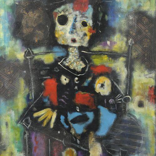 Roland CHANCO (1914 2017) Enfant assis, circa 1955 60.  Technique mixte sur toil…