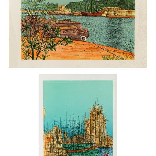 Jean CARZOU (1907 2000) Paris, les quais & La tour, 1994 95.  Deux lithographies…