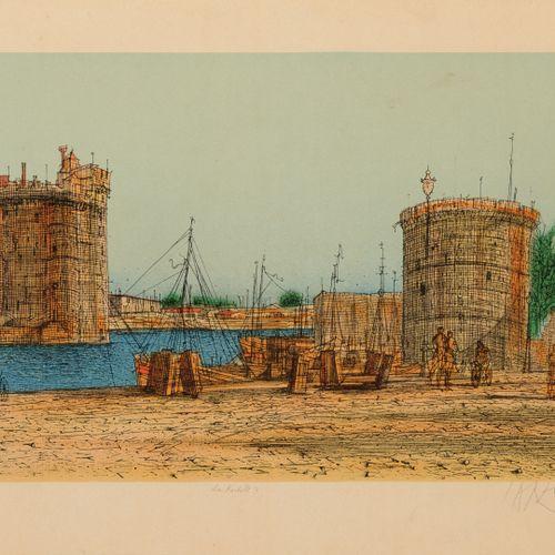 Jean CARZOU (1907 2000) La Rochelle II & Nice II, 1993.  Deux lithographies en c…