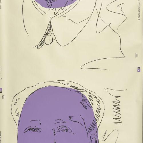 D'après Andy WARHOL Mao, 1989.  Sérigraphie en couleurs sur papier peint.  Menti…