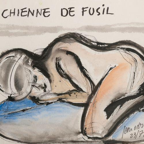 Jean Edern HALLIER (1936 1997) La chienne de fusil, 1994.  Encre et aquarelle su…