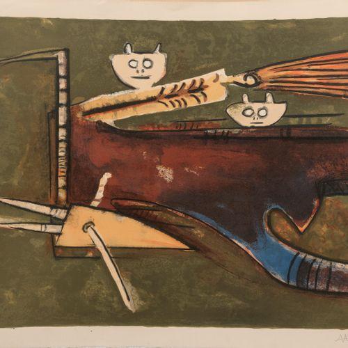 Wifredo LAM (1902 1982) Bonjour Max Ernst, 1974.  Lithographie en couleurs sur p…