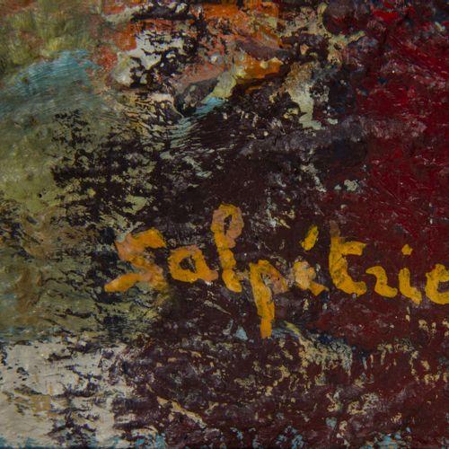 Nicole SALPETRIER (XXème XXIème siècle) Le grenier avec la petite fenêtre bleue …