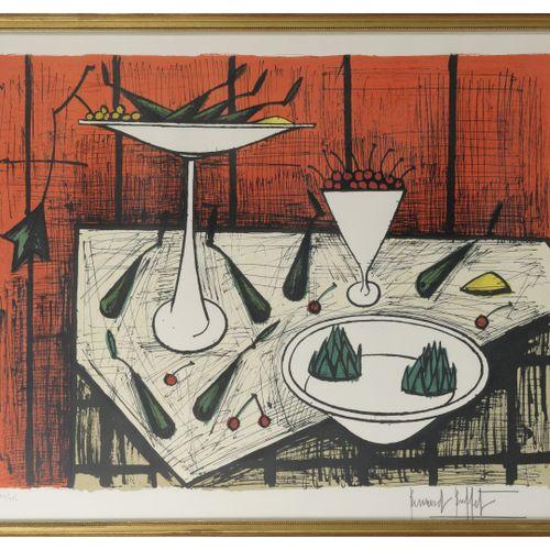Benard BUFFET (1928 1999) Nature morte aux poires et aux cerises.  Lithographie …