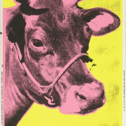 D'après Andy WARHOL Pink cow, 1989.  Sérigraphie en couleurs sur papier peint.  …