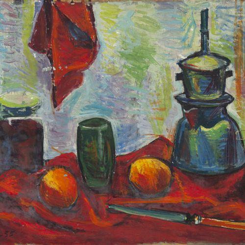 Alberto FABRA (1920 2011) Nature morte à la théière et aux fruits, 1955.  Huile …