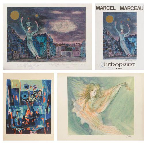 Marcel MARCEAU (1923 2007) Le clown.  Lithographie en couleurs sur papier.  Sign…