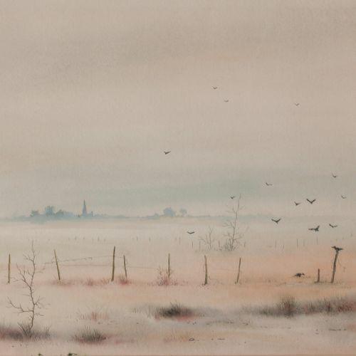 Pierre PREUX (1935) Paysage d'hiver, circa 1980.  Aquarelle sur papier.  Signé e…