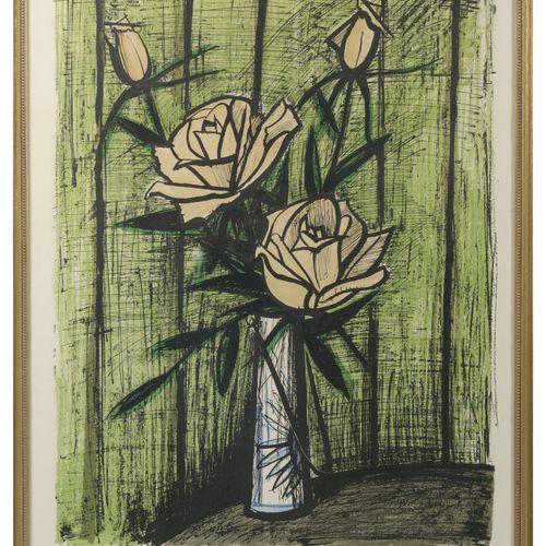 Bernard BUFFET (1928 1999) Roses, premier état, 1980.  Lithographie en couleurs …