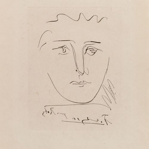 D'après Pablo PICASSO Visage pour Roby, 1950.  Eau forte sur papier.  Signée dan…