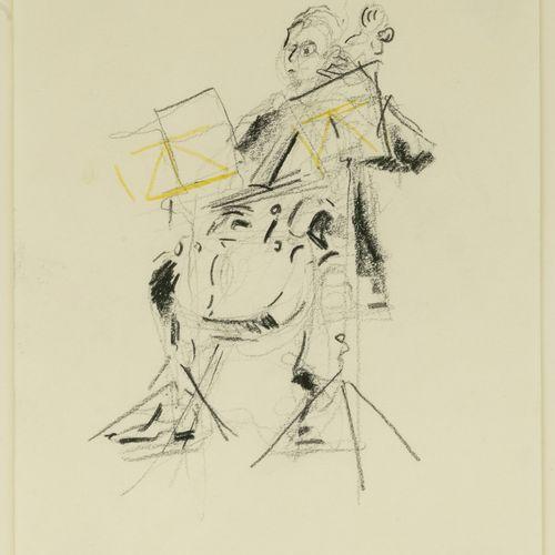 Daniel AUTHOUART (1943) Le contrebassiste, 1994.  Mine de plomb et crayon de cou…