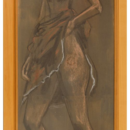 Grégoire MICHONZE (1902 1982) Jeune fille à la jupe relevée, 1973.  Pastel sur p…