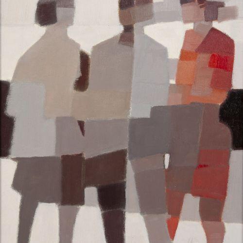 Michel THOMPSON (1921 2007) La ville, circa 1980.  Huile sur carton marouflé sur…