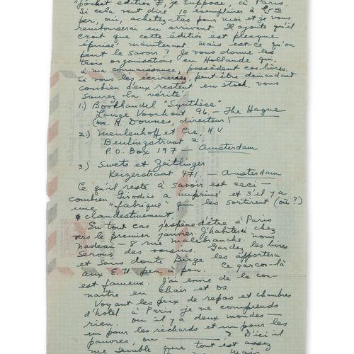 MILLER, Henry Lettre autographe signée à un ami. Big Sur, 9 décembre 1962.  Une …