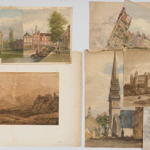 Emile COUTURIER (XIX XXe siècle) Lot de huit dessins :   Vue de l'hôtel de la Mo…
