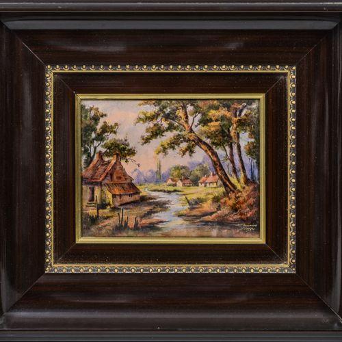 LIMOGES 瑟米厄(THOUMIEUX)  河边的房子。  多色珐琅铜板。  右下方有签名。  14 x 18.5厘米(展出)。   M.BUREAU  夕…