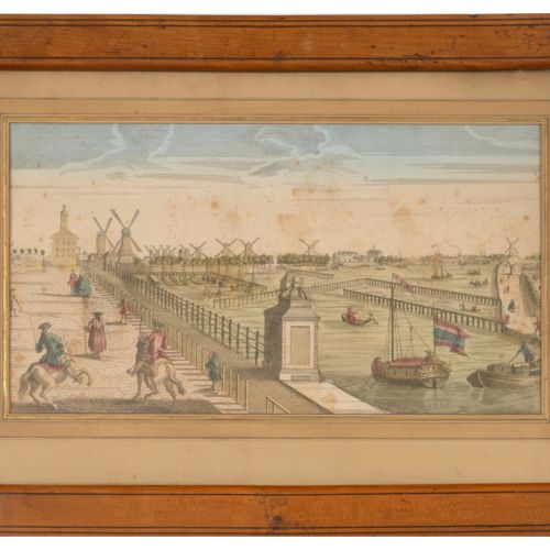 Lot de 5 gravures vues d'optique : Barques et bateaux en bord de mer.  24 x 38.5…