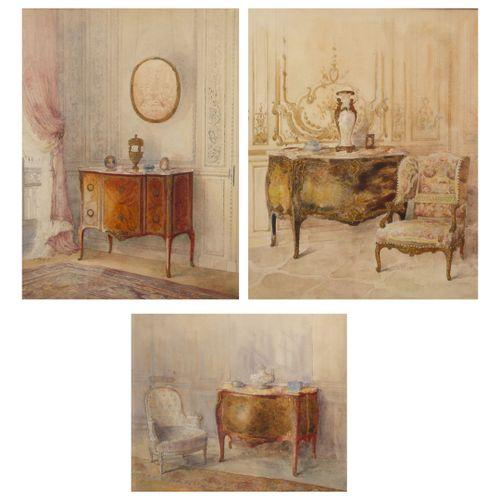 Ecole dans le goût du XVIIIème siècle 拥有路易十五、过渡时期路易十六和路易十六家具的室内景观。  纸上三幅水彩画。  32…