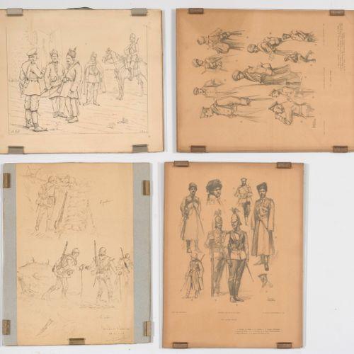 Lot de 7 gravures sur le thème : Militaria.  Divers formats.  Taches, rousseurs …