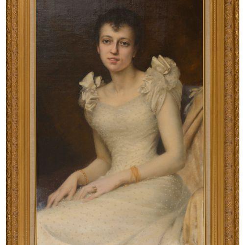 Jules Victor VERDIER (1862 1926) Portrait d'une jeune femme assise en robe blanc…