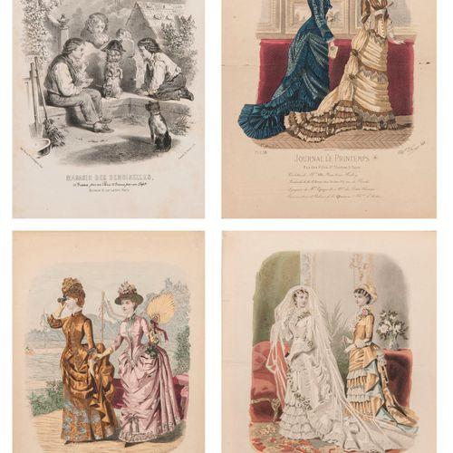 LA MODE ILLUSTRÉE 28 planches colorées de 1865 à 1884.  Certaines insolées, quel…